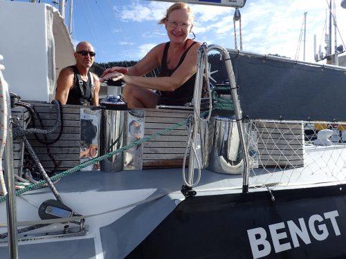 Wim och Elisabeth i Bengt (båten är uppkallad efter han som byggde den)
