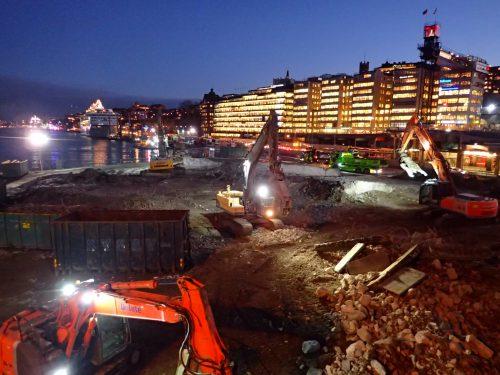 Så här ser Slussen ut nu. Det blir spännande att se hur den ser ut när vi kommer till Stockholm nästa gång.