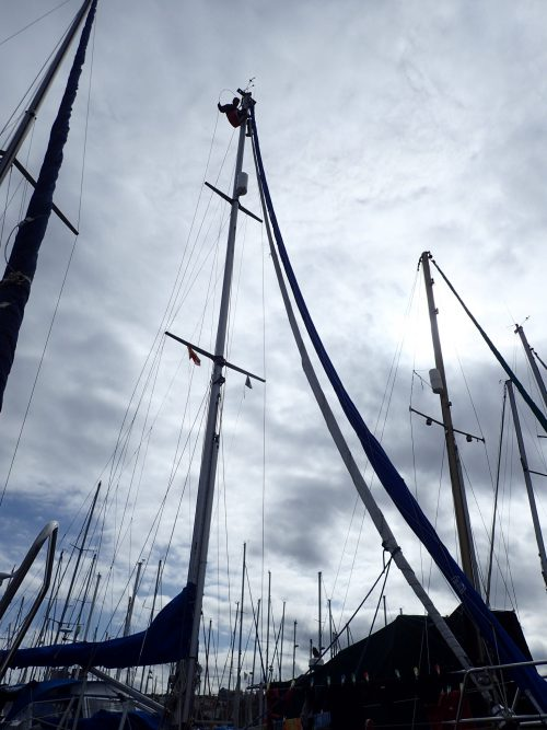 I Las Palmas byter vi vanten (stagen) till masten. Jag hissar upp Tobbe i masten där han tar bort några i taget, sen är det Alisios, firman ligger på kajen och säljer Selldenriggar, som tillverkar nya.